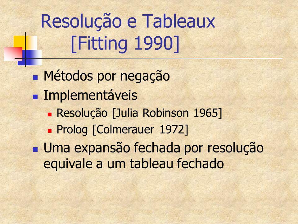 Resolução e Tableaux [Fitting 1990]